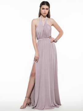 Simple Halter Ruched Split-Front Evening Dress & Evening Dresses for sale