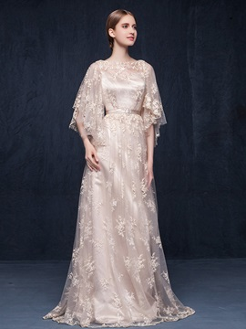 Vintage Bateau Neck Sleeves Lace Evening Dress & Evening Dresses for less