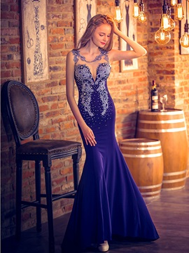 Luxurious Straps Beading Appliques Sheer Back Mermaid Evening Dress & Evening Dresses under 100