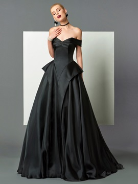 Gorgeous A-Line Off-the-Shoulder Cap Sleeves Ruffles Sweep Train Evening Dress & Evening Dresses for less