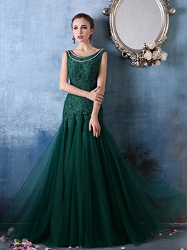 Vintage Scoop Neck Pearls Mermaid Lace Evening Dress & colorful Evening Dresses