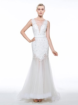 V-Neck Appliques Beading Mermaid Evening Dress & Evening Dresses for sale