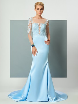 CharmingTrumpet Scoop 3/4 Length Sleeves Appliques Court Train Evening Dress & Evening Dresses for sale