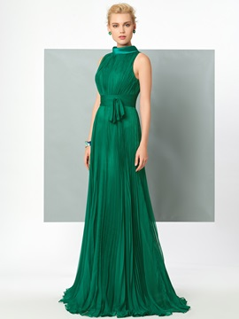 Classic High Neck A-Line Pleats Sashes Sweep Train Evening Dress