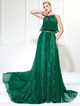 Popular Jewel A-Line Beading Lace Court Train Evening Dress
