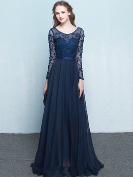 Vintage Scoop Neck Long Sleeves Beading Evening Dress & modest Evening Dresses