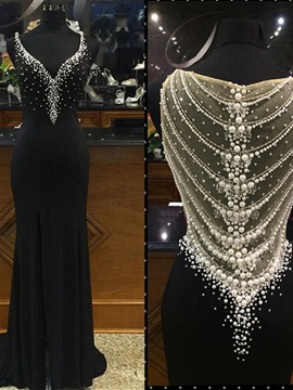 Luxurious Straps Pearls Sheath Black Evening Dress & colored Evening Dresses