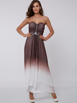 Sweetheart Beading Ruched Gradient Color Evening Dress & Evening Dresses 2012
