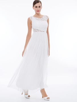Scoop Neck Cap Sleeves Ruched Lace Evening Dresss & Evening Dresses on sale