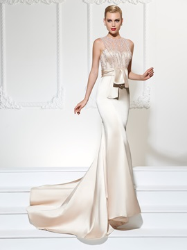 Unique Jewel Trumpet Lace Sashes Court Train Evening Dress & Evening Dresses under 500