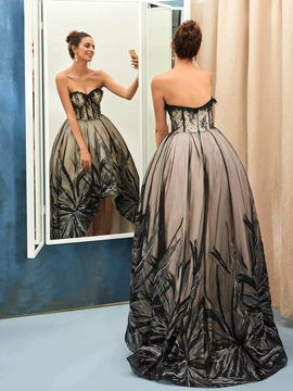 Vintage Sweetheart Ball Gown Lace Sequins Asymmetry Evening Dress & Evening Dresses on sale