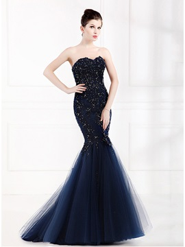 Elegant Mermaid Appliques Beading Tulle Evening Dress & Evening Dresses under 300