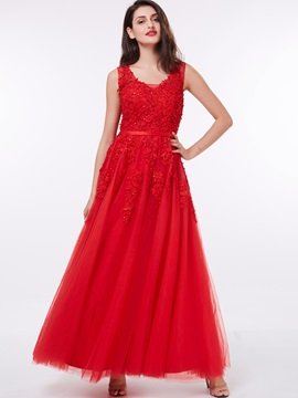 Straps Appliques Beading Red Evening Dress & unique Evening Dresses