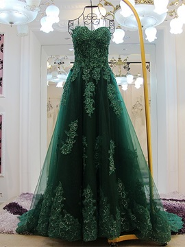 Gorgeous A-Line Sweetheart Appliques Beading Sequins Court Train Evening Dress & attractive Evening Dresses