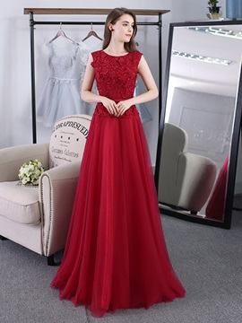 Elegant A-Line Scoop Lace Pearls Sashes Long Evening Dress & discount Evening Dresses