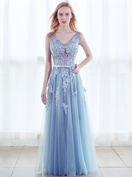 Nice A-Line V-Neck Appliques Beading Pearls Floor-Length Evening Dress & Evening Dresses for sale