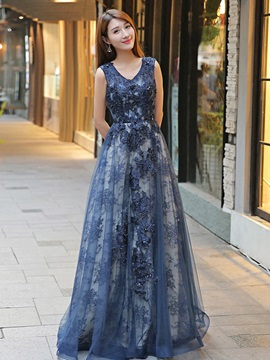 Nice A-Line V-Neck 3/4 Length Sleeves Lace Floor-Length Evening Dress & attractive Evening Dresses