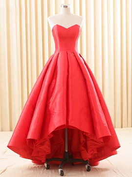 Vintage A-Line Sweetheart Pleats Asymmetry Evening Dress