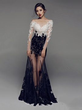 Sexy Long Sleeves Mermaid Bateau Appliques Lace Evening Dress & colored Evening Dresses