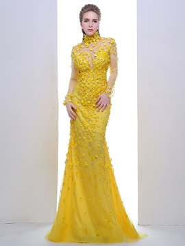 Charming A-Line High Neck Long Sleeves Crystal Sweep Train Evening Dress & Evening Dresses online