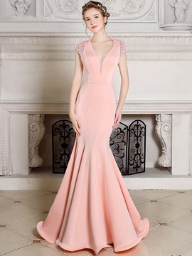Charming V-Neck Mermaid Pearls Floor-Length Sweep Train Evening Dress & romantic Evening Dresses
