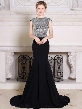 Gorgeous Jewel Mermaid Cap Sleeves Crystal Court Train Evening Dress & modern Evening Dresses