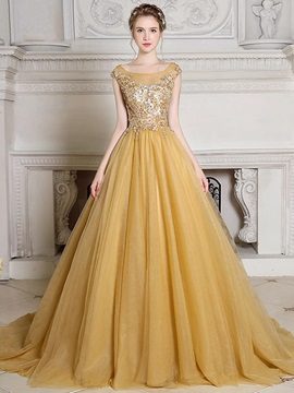 Nice Scoop A-Line Cap Sleeves Crystal Sequins Court Train Evening Dress & unusual Evening Dresses