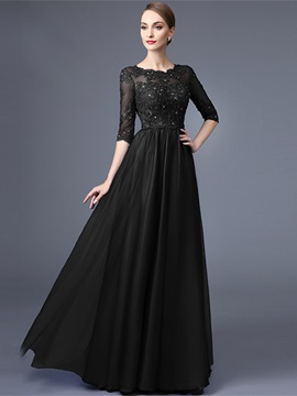 Elegant A-Line Scoop Half Sleeves Appliques Beading lace Long Evening Dress & quality Evening Dresses