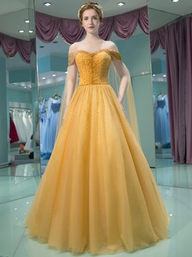 Charming A-Line Off-the-Shoulder Beading Pleats Court Train Prom Dress & colorful Evening Dresses