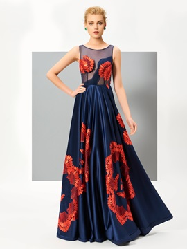 Unique A-Line Scoop Appliques Floor-Length Evening Dress