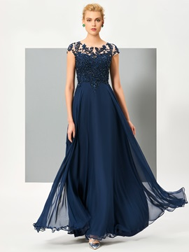 Elegant A-Line Scoop Cap Sleeves Appliques Button Lace Floor-Length Evening Dress & attractive Evening Dresses