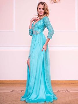 Charming A-Line V-Neck 3/4 Length Sleeves Beading Lace Split-Front Evening Dress & unique Evening Dresses