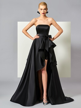 Simple A-Line Strapless Bowknot Ruched Split-Front Tiered Sweep Train Evening Dress & romantic Evening Dresses