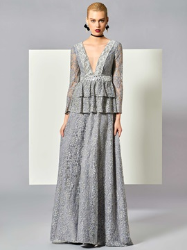 Vintage A-Line V-Neck Long Sleeves Draped Lace Floor-Length Evening Dress