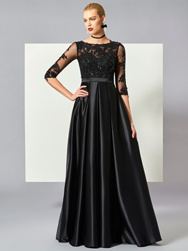 Fancy A-Line Scoop Half Sleeves Appliques Ruched Floor-Length Evening Dress