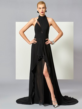 Stylish Halter A-Line Sleeveless Backless Court Train Evening Dress