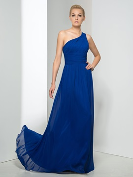 Consice One-Shoulder Ruched Bodice A-Line Court Train Taline's Evening Dress & colored Evening Dresses