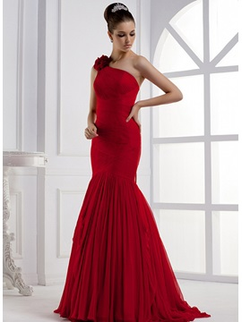 Amazing Mermaid One-Shoulder Flower Ruched Lace-up Sweep Train Long Evening Dress & vintage style Evening Dresses