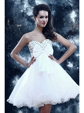 Cute A-Line Sweetheart Bowknot Beading Sandra's Short Sweet 16 Dress & fairytale Prom Dresses