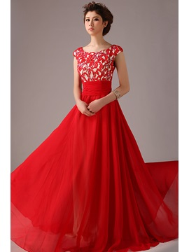 Pretty Appliques Sequins Scoop Neckline Cap Sleeves Red Prom Dress & Prom Dresses from china