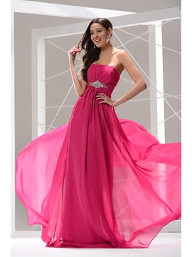 Hot Selling Chiffon Strapless Empire Waist Beading Long Prom Dress & quality Prom Dresses