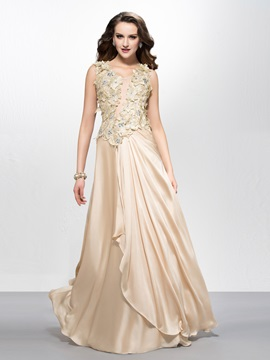 Beautiful Scoop Neck Flowers Beading A-Line Long Prom Dress Designed & vintage style Prom Dresses