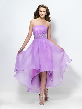 Charming Strapless Beading Zipper-Up Empire Waist Prom Dress Designed & Prom Dresses for less