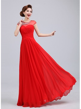 Exquisite Scoop Neck Sequins&Beading Floor-Length A-Line Prom Dress & elegant Prom Dresses