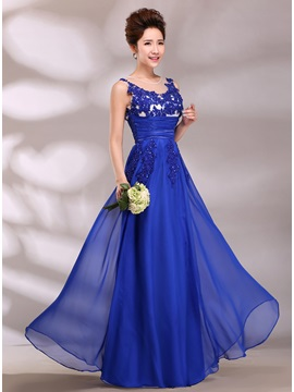 Graceful Tulle Neckline Appliques Empire Waistline A-Line Long Prom Dress & Prom Dresses from china