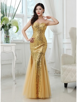 Shining Trumpet Sweetheart Sequins Zipper-up Long Prom Dress & Prom Dresses on sale