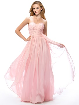 Simple Style A-Line Sweetheart Floor-Length Ruched Prom Dress Designed & romantic Prom Dresses