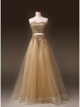 Luxurious Sweetheart A-Line Beading Lace-up Sweep Train Long Prom Dress & fairytale Prom Dresses