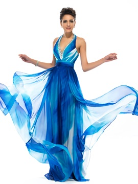 Eye-catching A-line Halter V-Neck Beading Long Prom Dress Designed & simple Prom Dresses