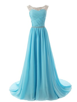 Beaded Straps Scoop Neck Pleats A-Line Sweep Train Prom Dress with Sparkling Embellished Waist & formal Prom Dresses